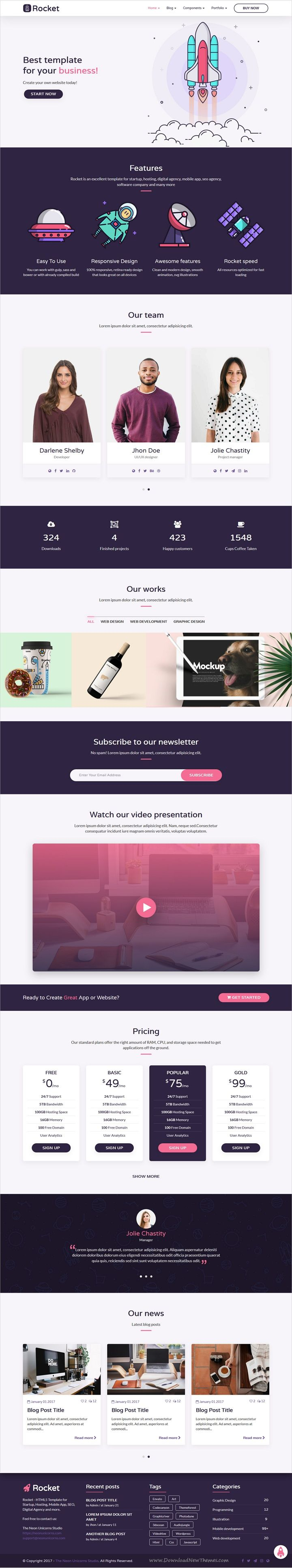 Rocket is an excellent multipurpose 6in1 #bootstrap template for startup, hosting, #digital agency, mobile app, seo agency or #software company website download now..