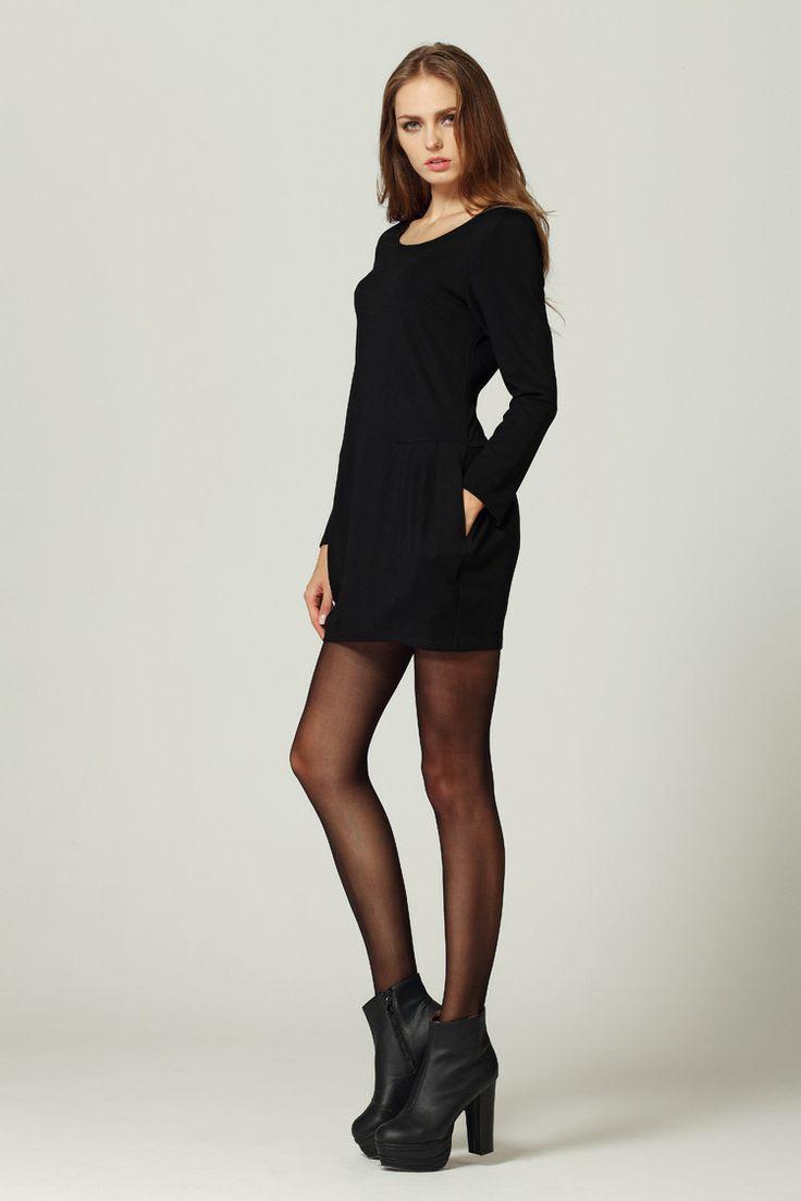 S1449 long-sleeve large yard bottoming dress-black