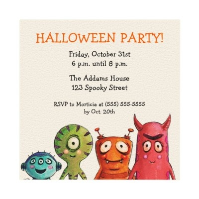 Monster Halloween Party Invitations from http://www.zazzle.com/monster+invitations