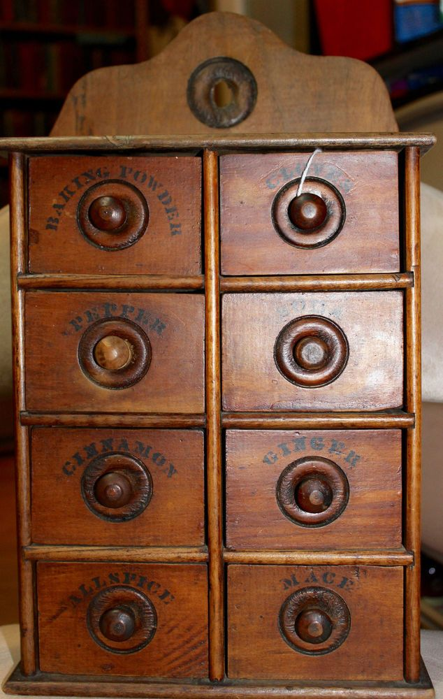 Vintage wood spice cabinet drawers apothecary tea