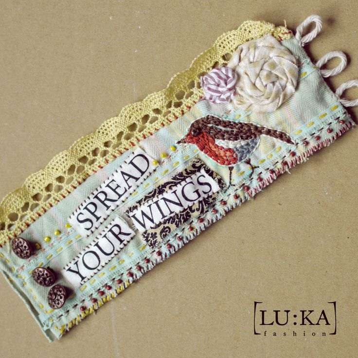 Gypsy Bracelet  Completely made by hand in romantic punk style. Elaborated and patiently embroidered, beaded, full of small stitches and details. Each piece is unique. This piece is called Spread your wings and is made in duck eggl/beige/aqua/brown/marron palette with embroidered little birdie.  37€+PP  info@lukamoda.com