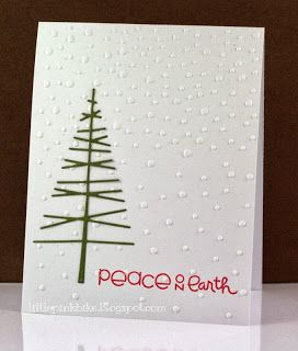 This simple tree can be made using paper strips, markers or dimensional paint.  Stamp a simple sentiment and add stickle or paint dots for a clean handmade Christmas card.