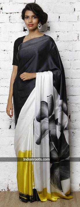 White digitally printed silk crepe saree by Satomi at Indianroots.com