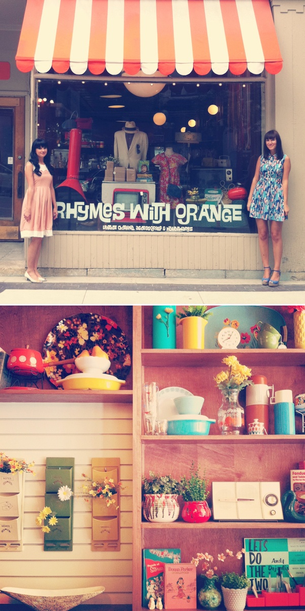 Rhymes with Orange Vintage located on 223 McDermot Avenue, Winnipeg, Manitoba. Founders of Oh So Lovely Vintage!