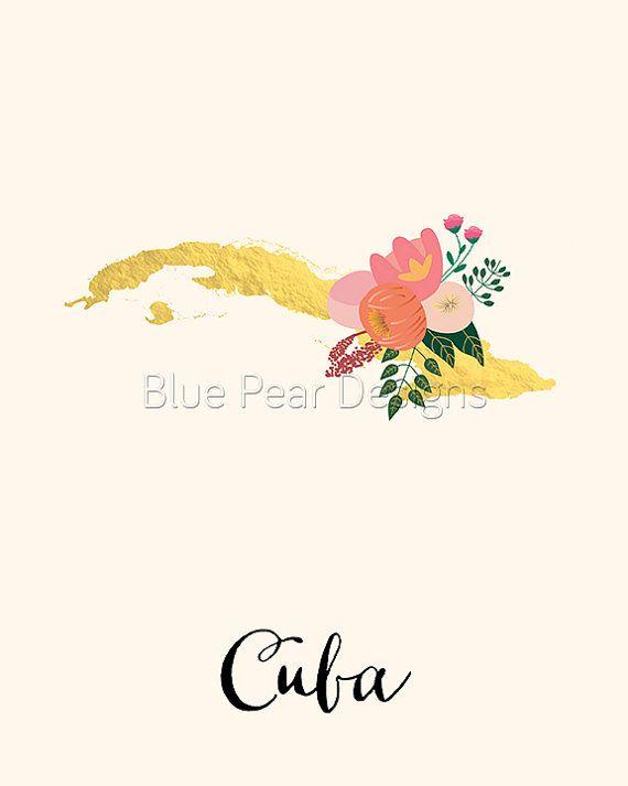 Cuba Map Cuba Art Cuba Poster Cuba Print by WhitespaceAndDaisy