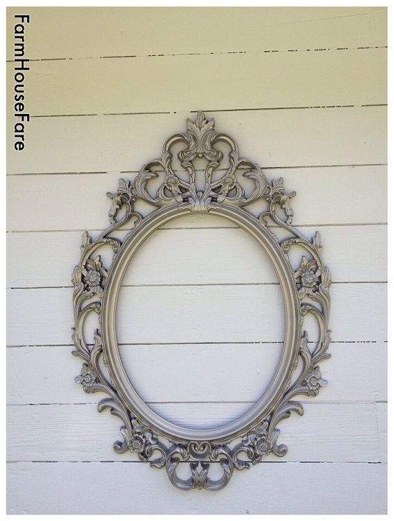 Ornate Baroque Mirror, Large Wall Mirror, Silver, Brushed Nickle Frame, Shabby Chic Oval Mirror Bathroom Mirror, Nursery Mirror, Farm House on Etsy, $168.00