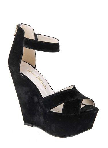İnce Topuk Casual Ayakkabı 5YITA0131 Dolgu Topuk Ayakkabı Siyah Süet | Morhipo.com