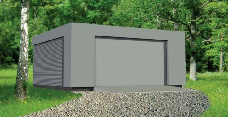contemporary flat roof prefab garages design inspiration building in grey color decoration. Black Bedroom Furniture Sets. Home Design Ideas