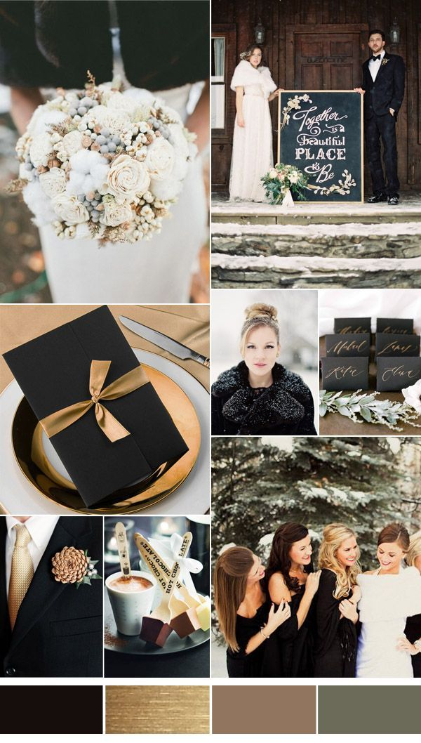 black and gold winter wedding color ideas 2016