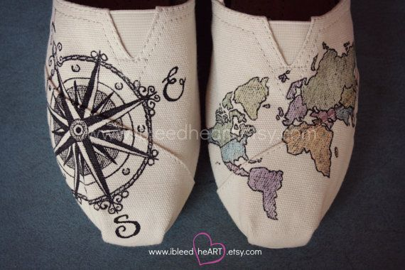 World Travel Compass TOMS Shoes with Colored Map - Wanderlust Adventure - Custom Painted Shoes - World Map - Wearable Art