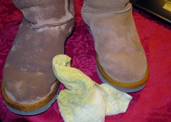 Clean Uggs (or any suede, for that matter) with shaving cream.