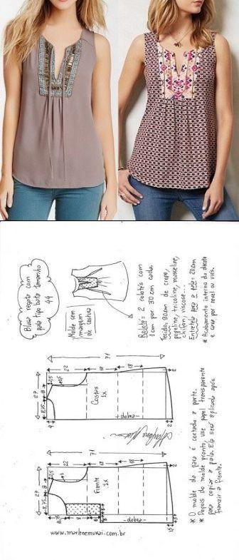 Blusa bata com pala vertical | DIY – molde, corte e costura – Marlene Mukai