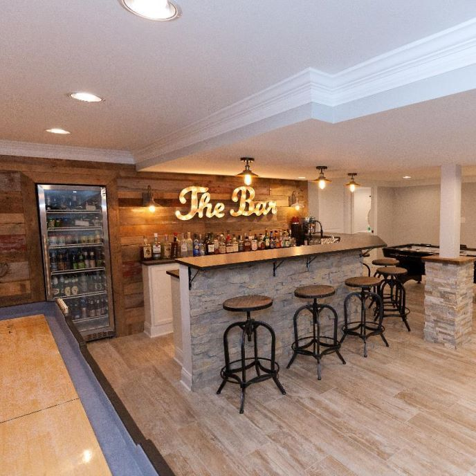Frankfort Basement Remodel: We took an unfinished basement to a fully custom finished basement with a bathroom, two wet bars, entertainment area, kids…