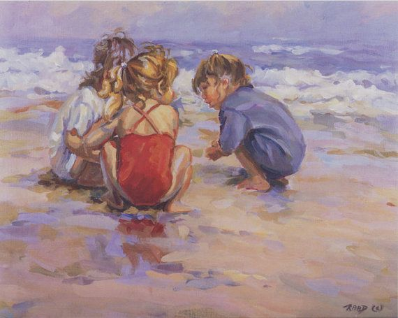 GIRL TALK  25 1/2 X 32 Canvas giclee, Three girls builing sandcastles and talking on the beach, wall decor, art decor, Lucelle raad Art