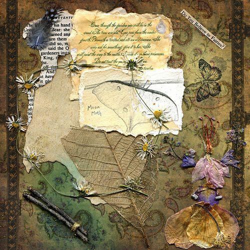♥Smash Book, Art Journals, Journals Pages, Faeries Finding, Nature Materials, Collage, Gardens Art, Journals Art, Dry Flower