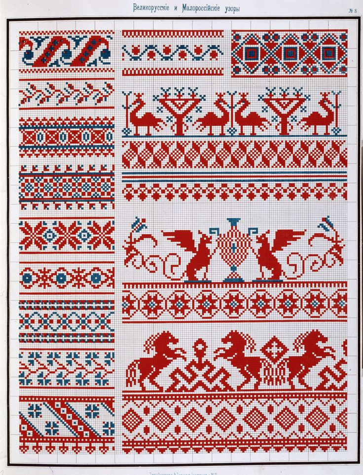 russian embroideryCrossstich, Charts, Pattern, Crossstitch, Russian Embroidery, Crosses Stich, Сборник Великорусских, Needlework Crosses Stitches, Малороссийских Узоров
