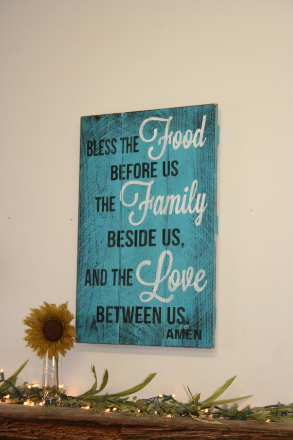 Bless The Food Before Us Kitchen Sign Pallet Sign Distressed Wood Sign Wood  Wall Art Turquoise