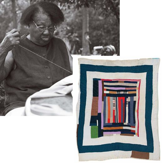 """—ANNIE MAE YOUNG: """"I just put some pieces together in my own head, in my own mind how I want it."""" (c. 1965 multiple-border quilt)  Annie Mae Young, born in 1928, made this medallion strip quilt with multiple borders from cotton, polyester and wool scraps. The quilt is 91 by 81 inches."""