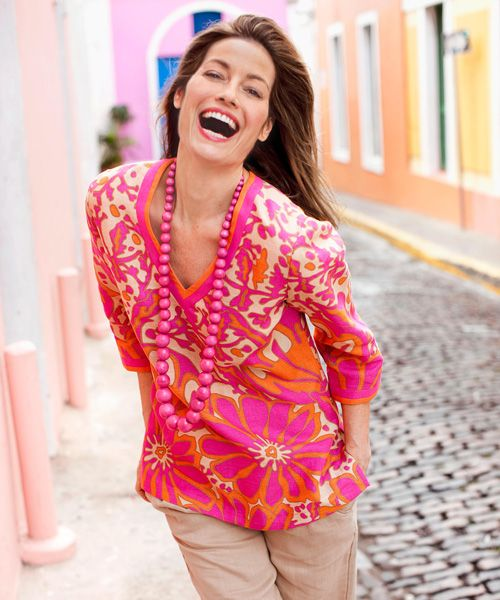 Your fashion dollar goes further if you pick sun-ready separates with a vacation vibe. The forgiving fit of this body-skimming floral linen tunic keeps you cool when it's sticky — and it can double as a beach cover-up. Paradise Print tunic, $50, Focus 2000; T.J. Maxx. Linen pants, $22.80, Forever 21; forever21.com. Necklace, $24, Spiegel; spiegel.com.  - GoodHousekeeping.com