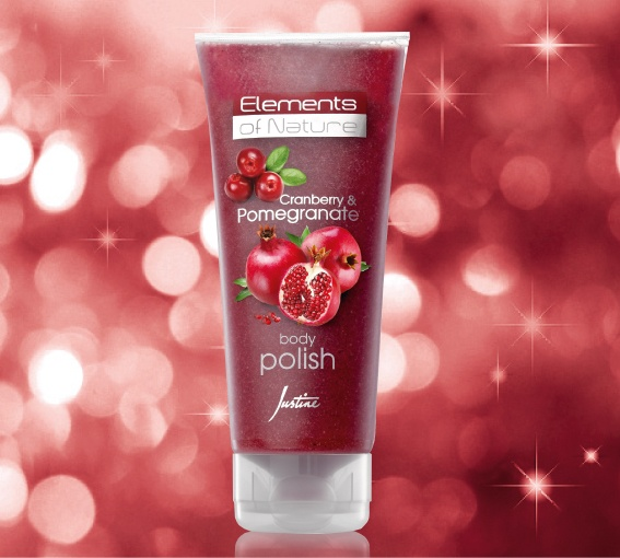 Elements of Nature Cranberry & Pomegranate Body Polish  Buffs away dry, dull-looking skin cells leaving skin soft   and smooth.   200 ml   Code 3444  For More Information - http://www.justine.co.za/PRSuite/home_page.page
