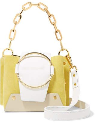 8c358e3d47 Yuzefi - Delila Mini Color-block Textured-leather And Suede Shoulder Bag -  Yellow
