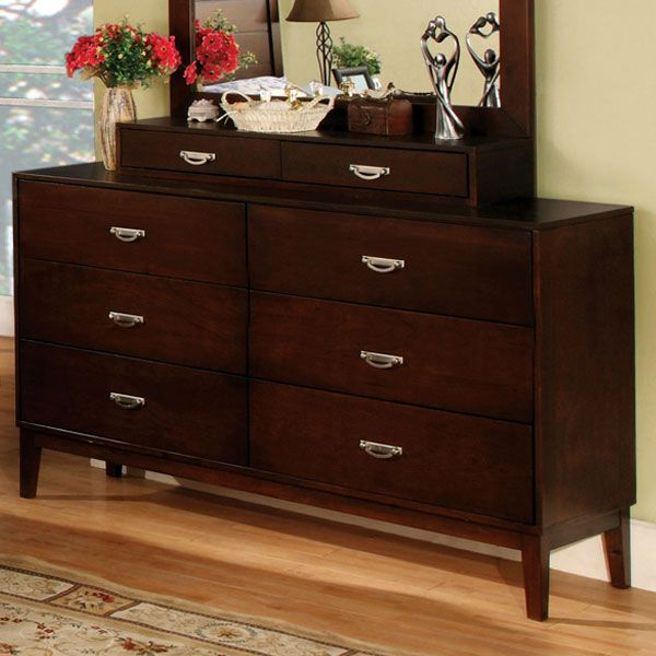 Crystal Lake Cottage Style Brown Cherry Finish Bedroom Dresser Dark Wood