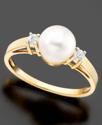 14k Gold Ring, Cultured Freshwater Pearl and Diamond Accent - Pearls - Jewelry & Watches - Macy's