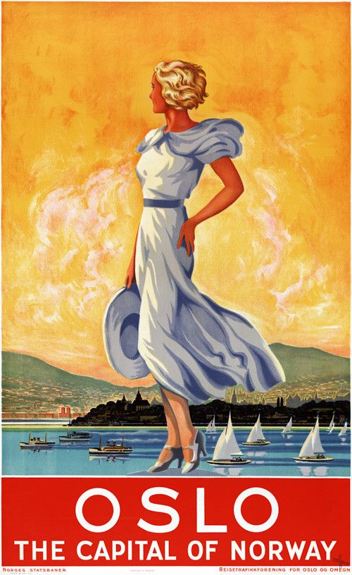 Oslo: The Capital of Norway. The woman stands along the shore with the city of Oslo, mountains and boats behind her. A vintage Norwegian travel poster, circa 1930s