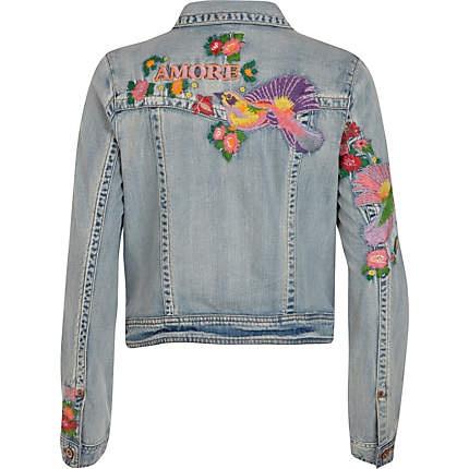 Light wash embroidered denim jacket
