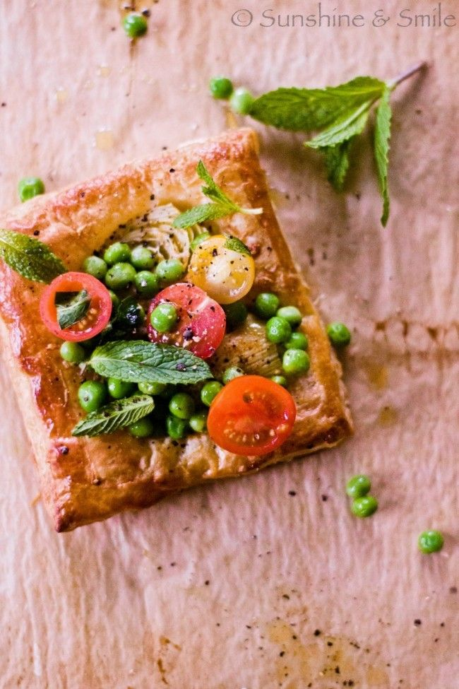 artichoke + tomato tarts with peas, mint and parmesan.