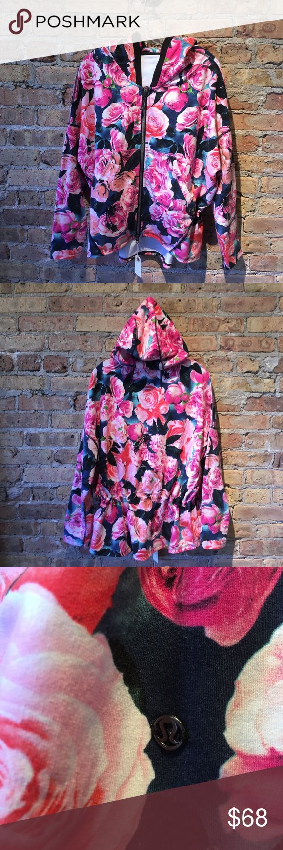 Lululemon floral zip up hoodie sz 10 54655 Multi colored floral zip up sweat jacket with hood and gathered waist at back sz 10 excellent used condition lululemon athletica Jackets & Coats