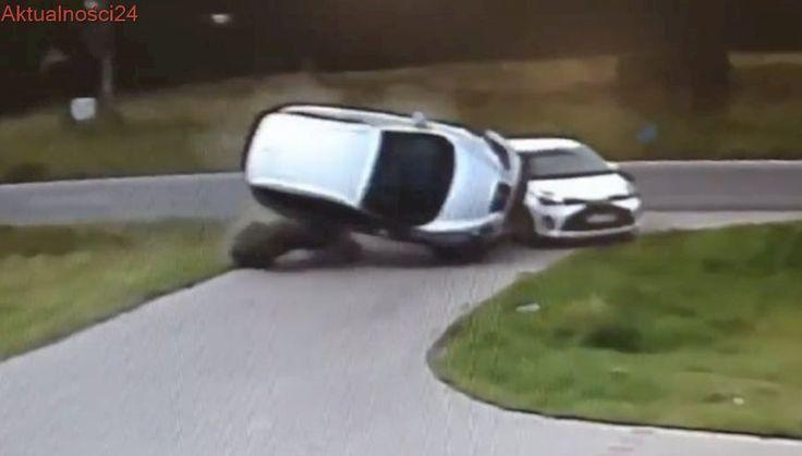 Uderzył w auto i dachował. Wypadek nagrała kamera