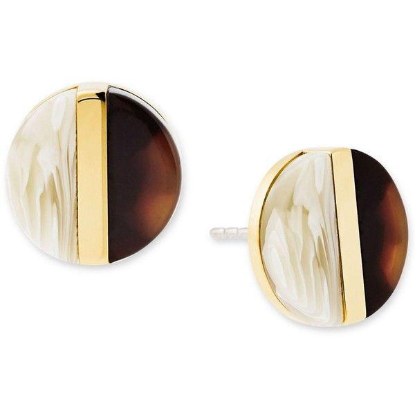 Michael Kors Gold-Tone Imitation Tortoiseshell and Horn Button Stud... ($75) ❤ liked on Polyvore featuring jewelry, earrings, gold, gold stud earrings, tortoise shell earrings, stud earrings, gold jewelry and tortoise stud earrings