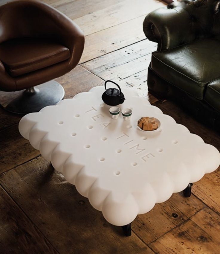 """Tea Time designed by the eclectic architect and designer Gianni Arnaudo, is the original and fun coffee-table inspired by the stylized shape of a biscuit. The inspiration for Tea Time low table, comes from the intuition to follow a project linked to food, """"transforming"""" a classic tea biscuit into a furnishing design object. The legs are substituted by four industrial type wheels that pivot at 360° that allow easy movements. #italy #design #miami #showroom #wynwood #outdoor #furniture #color"""
