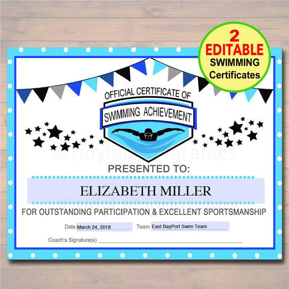 editable swim team award certificates  instant download