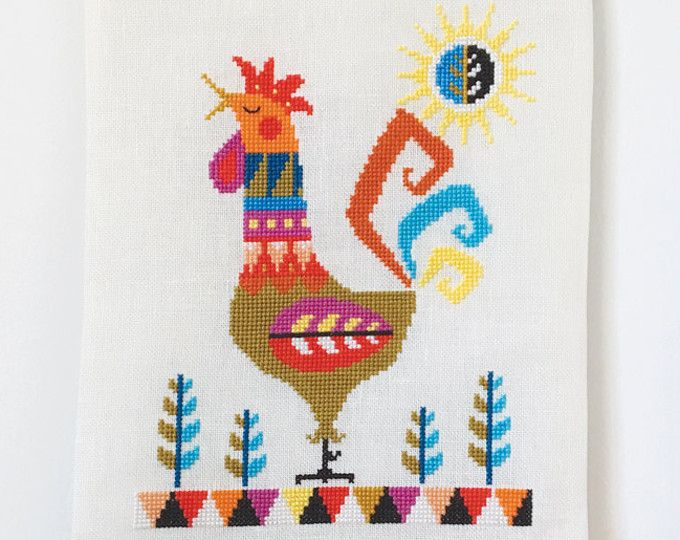 Good Morning! - Rooster - Chinese New Year 2017 - Satsuma Street modern cross stitch pattern PDF - Instant download