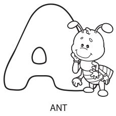 Coloring Pages of Alphabet A for Ant