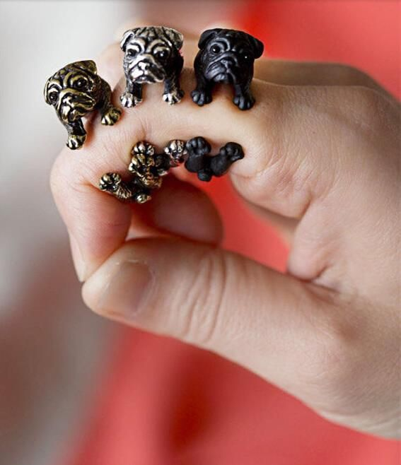 New Fashion Black Handmade Pug Dog Ring Fashion jewelry Animals rings For women men teens