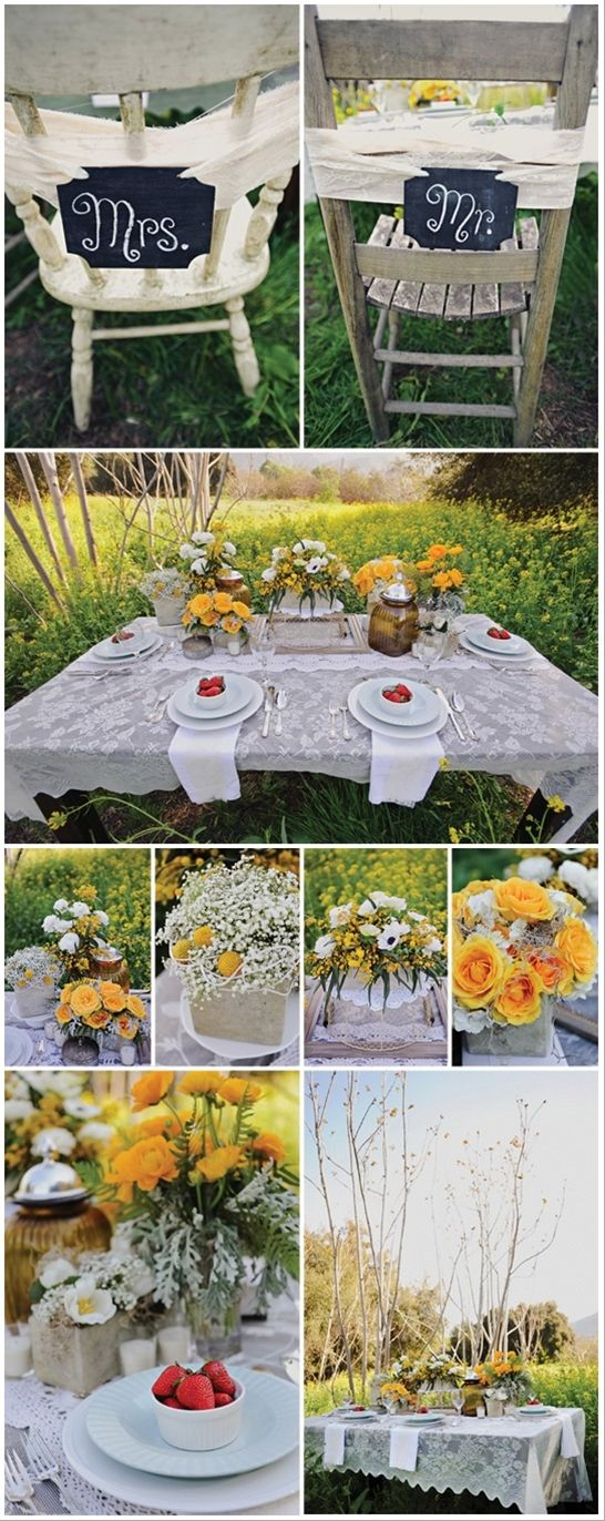 """Rustic Wedding I love the """"Mr."""" """"Mrs"""" chalk boards on the back of the chairs"""