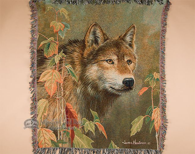 "Wildlife Southwestern Throw Blanket 50""x60"" -Wolf (st17) - Mission Del Rey Southwest"