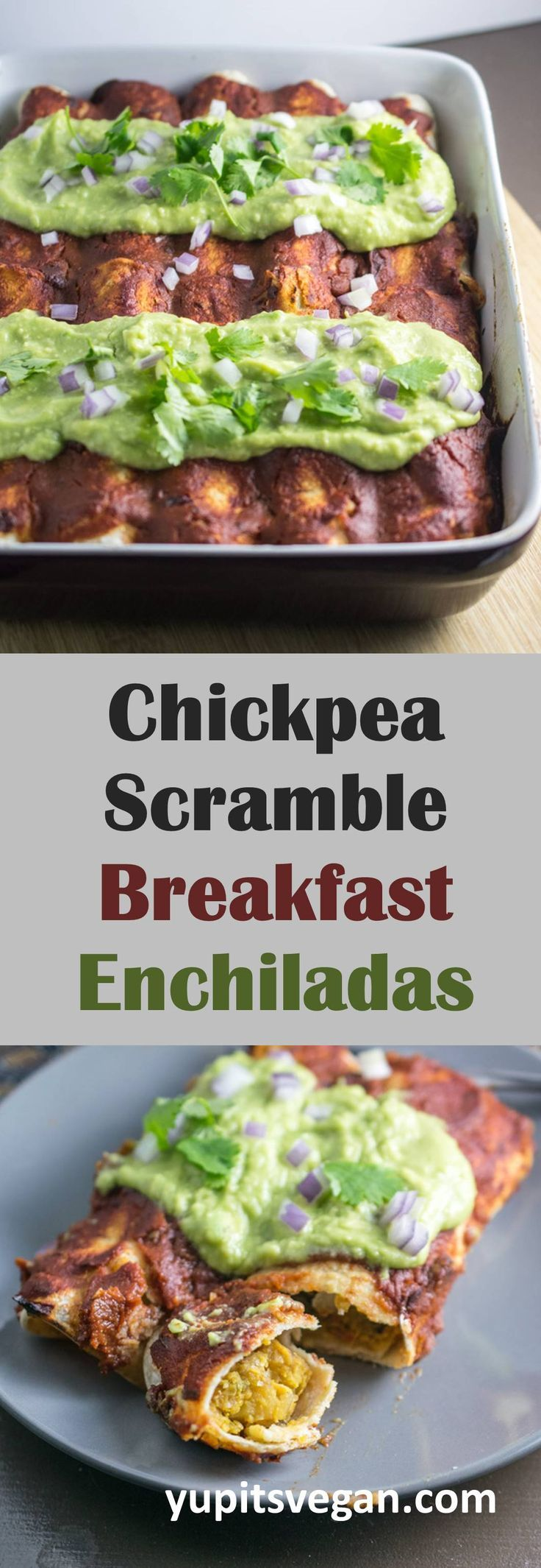 Chickpea Scramble Breakfast Enchiladas with Chipotle Sauce | Yup, it's Vegan. Hearty enchiladas stuffed with potatoes, peppers, and chickpea scramble, smothered in chipotle sauce, and topped with avocado crema. #vegan #glutenfree #enchiladas