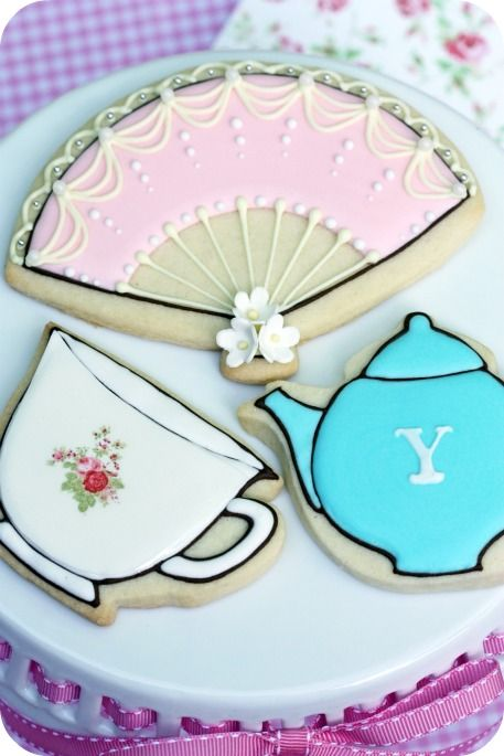 Tea party decorated cookies!  @Mary Miles, check out her website for cookie ideas.  Amazing!