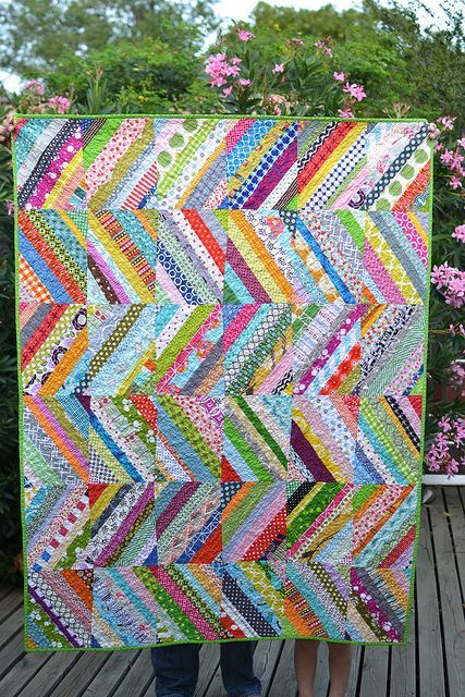 Scrappy String Quilt   Flickr - Photo Sharing!   Use Magazine Pages And Draw Diagonal Lines In Various Widths.