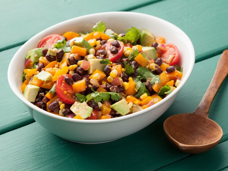Black Bean Salad  - Used regular tomatos and half a can of corn 'cause that's what we had.  ZOMG delicious.  Would probably double next time just to use full can of corn and it is that good.