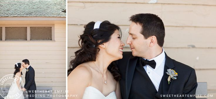 Newlyweds stealing a kiss by the beach house, Cherry Beach Wedding Photography, Toronto. #sweetheartempirephotography