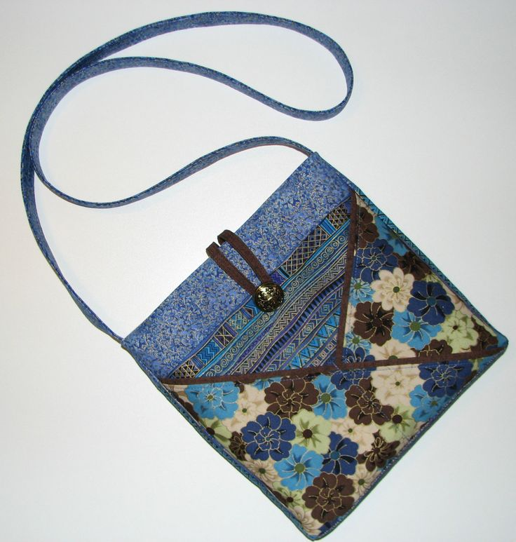 Handmade Fabric Purse, Cross Body Shoulder Bag, Blue Brown Cream Gold Oriental Floral Print, Quiltsy Handmade by VillageQuilts on Etsy