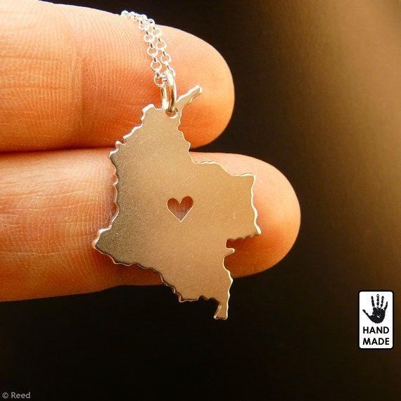 COLOMBIA mapa hecho a mano personalizada 925 collar de plata esterlina en una caja de regalo