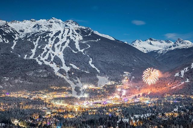 Happy New Year from #whistler. With a full(ish) moon, fresh snow and clear skies, I had to take the opportunity to head high and look down on the midnight fireworks.
