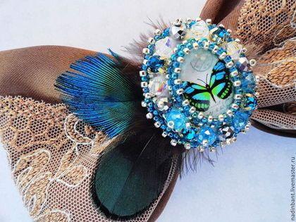Заколка Бант с бабочкой и перьями Павлина - заколка для волос,заколка-автомат