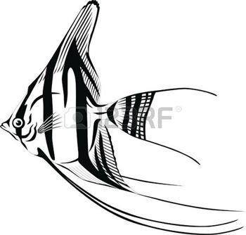 oceaan%3A+Gestreepte+vis+met+een+ronde+lichaam+en+lange+vinnen.+Stock+Illustratie